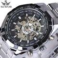 Top famosa marca de luxo Homens Moda Relógios Relógio Mecânico Automático Esqueleto de aço inoxidável Relógio Masculino erkek kol saatleri