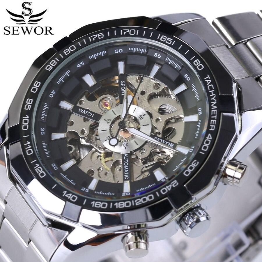 top brand luxury famous Men Fashion Watches Automatic Mechanical Watch Skeleton stainless steel Male Clock erkek kol saatleri men watches top brand luxury famous male