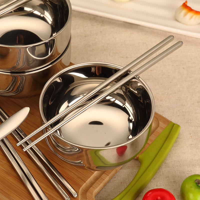 1-4 pieces/set Portable Stainless Steel Bowl for Family Travel, Healthy Food Containers Soup and Rice Bowls with Chopsticks