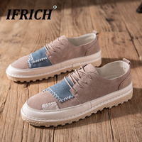 ifrich Men Original Leather Shoes Fashion Young Boy Casual Footwear Brand Designer Men Sneakers Suede Leather Walking Shoes Mens