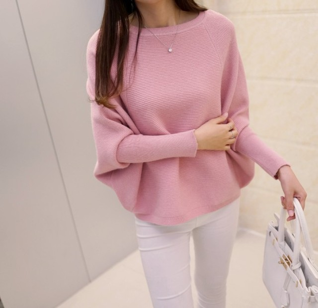 2016 Korean  new women's low collar loose solid size sweater pullover BianFuShan female