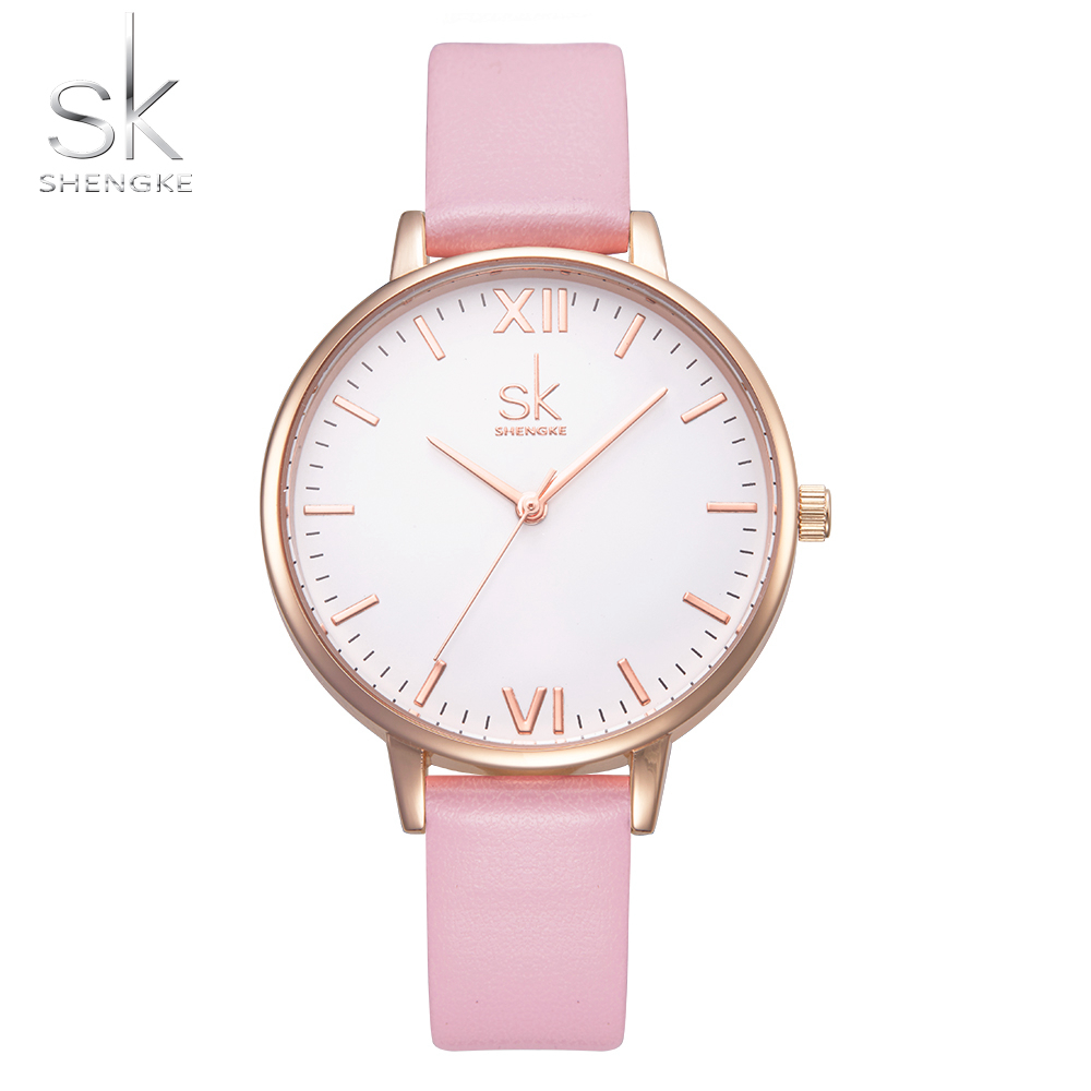 Shengke Top Brand Watches Women Luxury Leather Watch Casual Pink Leather Dress Wrist Watch Relogio Feminino Montre Femme 2017 SK 2018 shengke fashion famous brand watch women top femme female clock leather ladies wrist watch montre femme relogio feminino sk