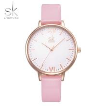 Shengke Лидирующий бренд часы Для женщин роскошные кожаные часы Повседневное розовый Кожаные модельные туфли наручные часы Relogio Feminino Montre Femme 2017 SK