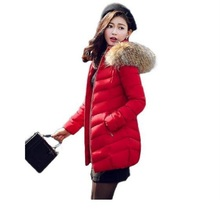 Winter Jacket Women 2016 New Down Jacket Fashion Slim long section raccoon fur jacket big yards thick warm padded jacket Parkas цены онлайн