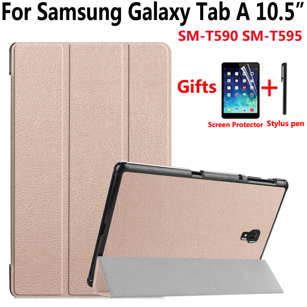 Fold Magnet Sleep Wake Up Case for Samsung Galaxy Tab A/A2 10.5 2018 SM-T590 SM-T595 T590 T595 Cover with Screen Protector Film for samsung galaxy note 10 1 p600 case onjess fold originality smart cover fashion auto sleep wake up transformers box fashion