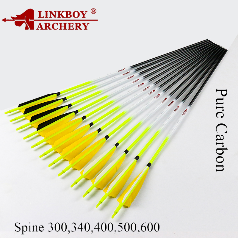 12pcs Linkboy Archery Carbon Arrows Shaft 30 32inch ID6.2mm 5inch Turkey Feather arrow Nock Compound Recurve Bow Hunting 6 12pcs linkboy archery carbon arrow shaft 32inch 5 turkey feather arrow nock compound recurve bow hunting arrows shooting