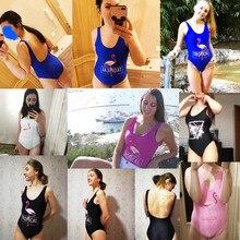 Flamingo Print Swimsuit Women Swimwear One Piece Sexy Bodysuit High Cut Low Back Bathing Suit Swimming Suit for women monokini