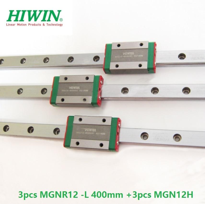 3pcs Original Hiwin rail MGN12 -L 400mm + 3pcs MGN12H linear blocks for cnc