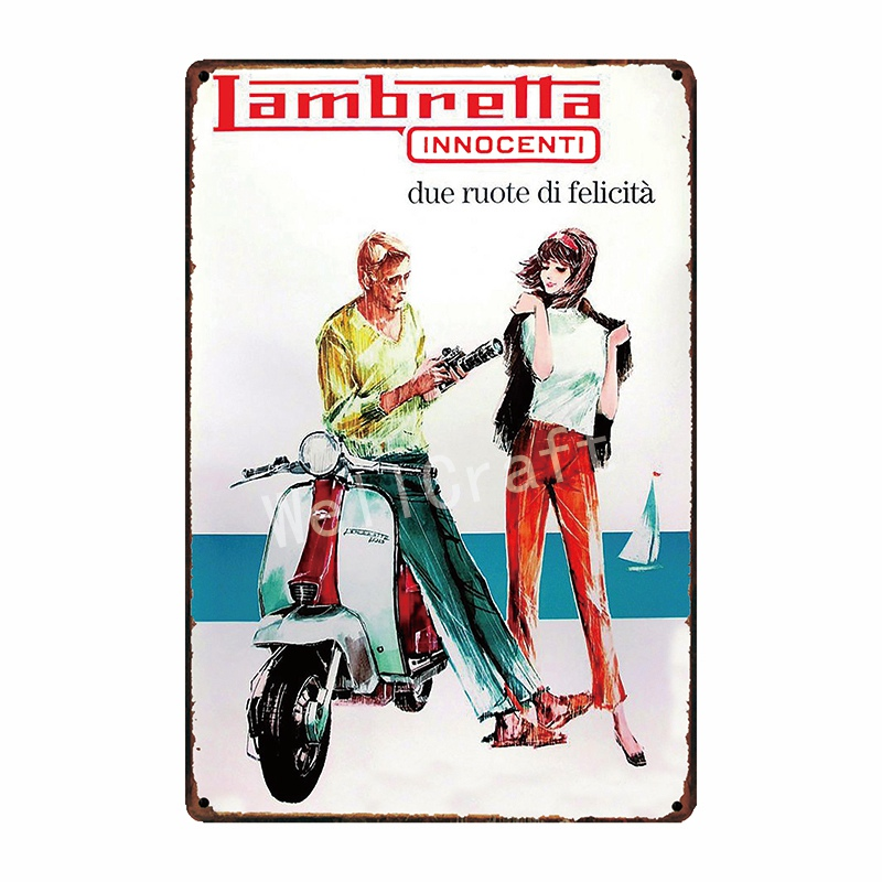 [WellCraft] Lambretta Motor Metal Signs Home Hotel Placa de pared - Decoración del hogar - foto 4