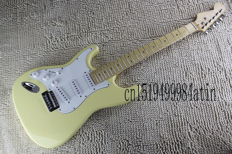 Free shipping 2017 High Quality 6 Strings left hand Stratocaster Cream yellow Electric Guitar @17 human free shipping hot guitar electric guitar good quality beautiful olp double shake left hand brown guitar