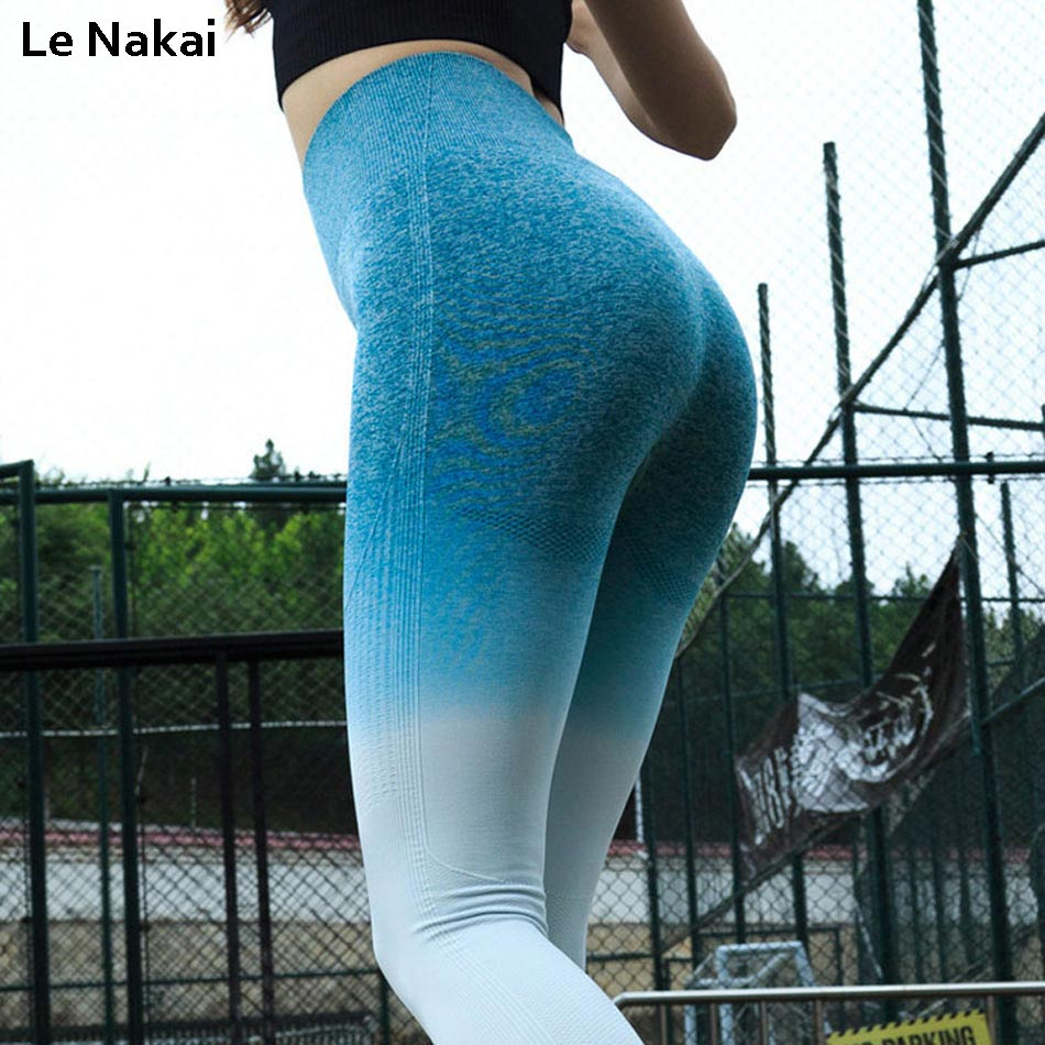 Ombre Seamless yoga pants Squat proof workout gym legging Tummy control scrunch butt leggings fitness sport leggings gym tights Колготки