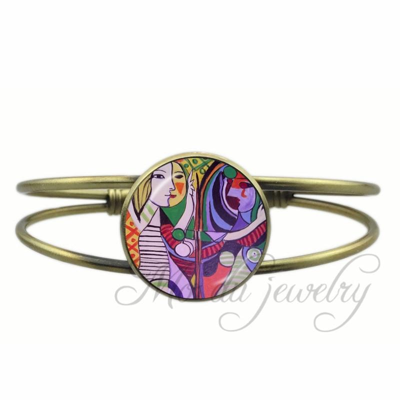 Pablo Picasso Jewelry The Girl In The Mirror Colorful Art Glass Cabochon Open Cuff Bangle Women Artist Bangles Jewllery