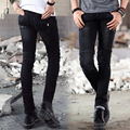 Biker Jeans High Quality Hot New Men's Jeans Fashion Solid Color mid Waist Straight Black Jeans Casual zipper