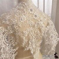 1Yd Ivoire Robe De Mariage Floral Broderie Couture Garniture Dentelle Perlée Applique Fleur Galons DIY Craft 50 cm LW0180