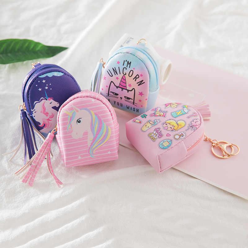 Fantasía 1 Pza bolsa en forma de llavero con unicornio Mini monedero cremallera bolso de dibujos animados Arco Iris llavero de cuero PU llavero