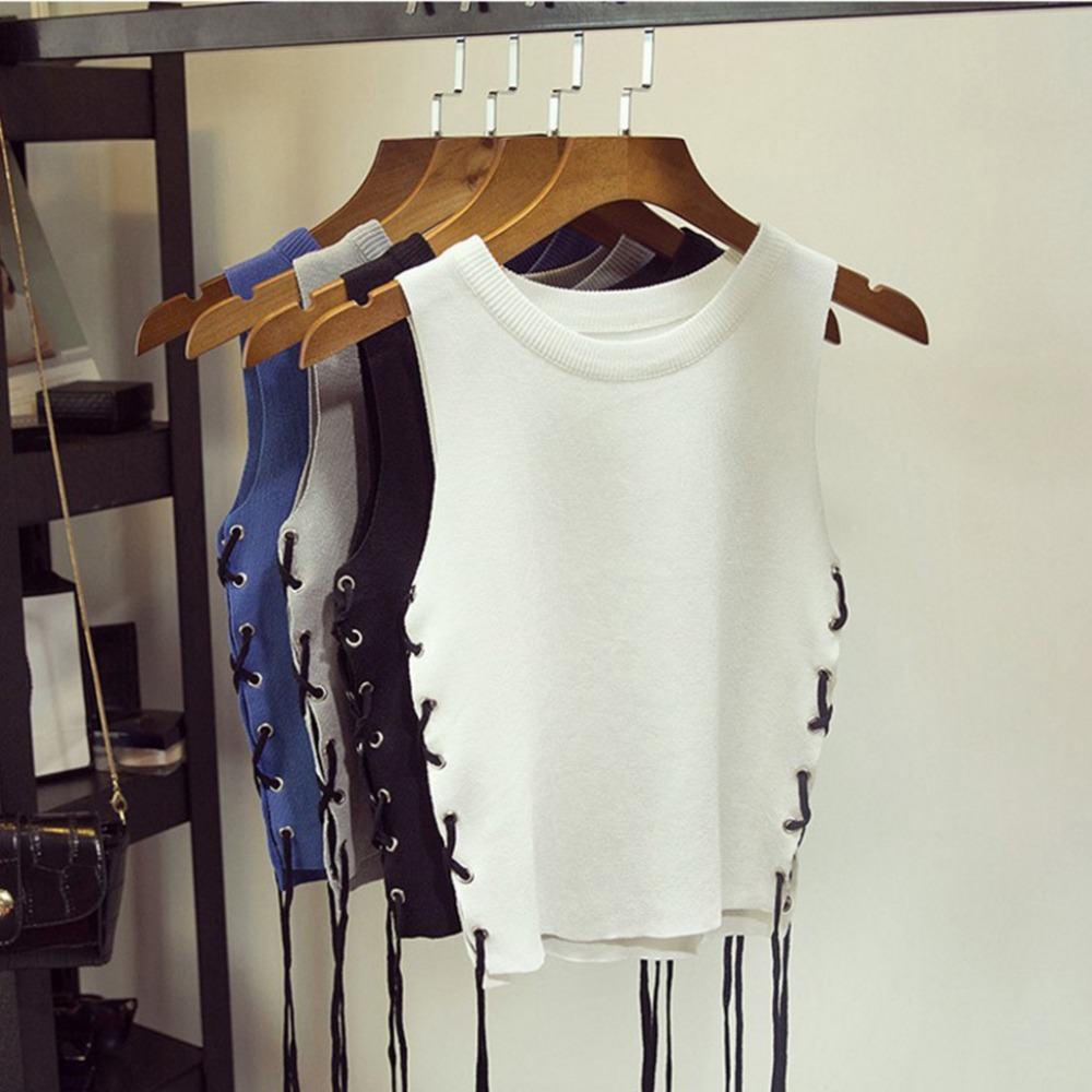 Fashion Sexy Women Summer Camisole Side Strappy Knitted Midriff-baring Vest Slim   Tank     Tops   4Colors