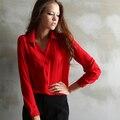 2015 Moda Casual Roupas Femininas Chiffon Sólidos Shirt Mulheres Turn-down Collar Magro Blusa Chiffon Topos de Estilo Elegante