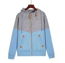M explosion models new womens personality double zipper color hooded long-sleeved hoodie women