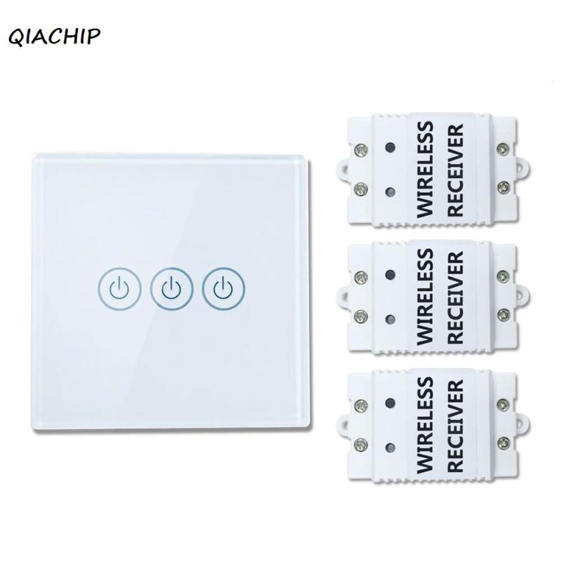 QIACHIP 433Mhz 220V 3 gang 3 Way Wireless Remote Control light Lamp Switch Crystal Glass Panel Touch Screen wall switch H3 2 gang 2 way wall light switch wireless remote control touch switch power for light crystal glass panel wall switch diy kit h3