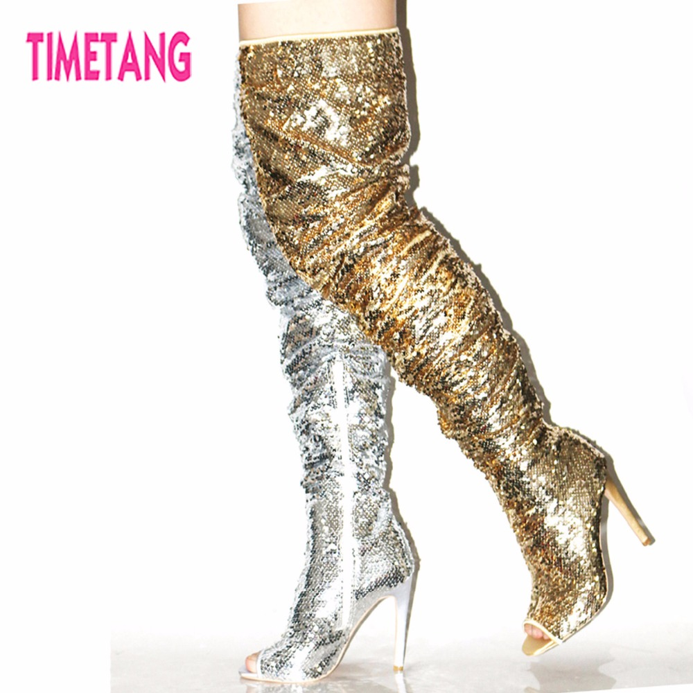 все цены на Amazing Gift New 2018 TIMETANG Super Star Bling Glitter Women Long Boots Sexy Model Lady Peep Toe Over-The-Knee women shoes