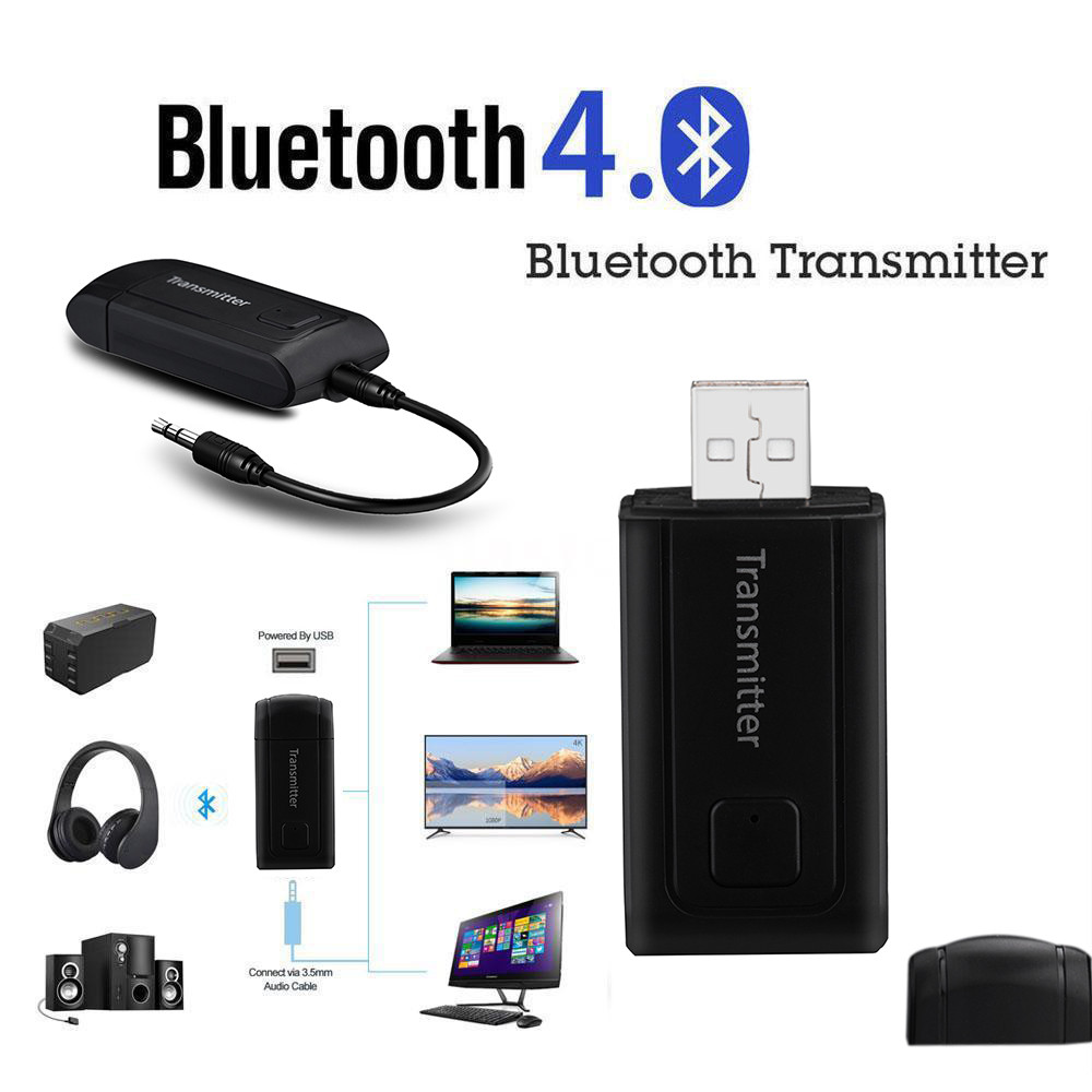 USB Bluetooth Stereo Audio Transmitter 3.5mm Music Dongle Adapter for TV PC A+