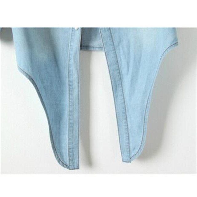 Casual Cropped sleeves Shirt female Denim Shirts women's Fashion Short Blouse Girls Top 4