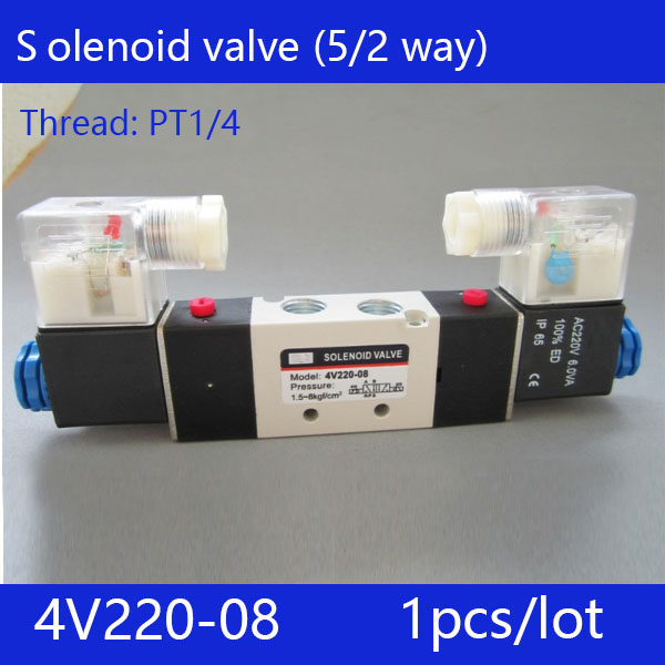 Free shipping 1pcs good qualty 5 port 2 position Solenoid Valve 4V220-08,have DC24v,DC12V,AC24V,AC36V,AC110V,AC220V,AC380V 2pcs free shipping high quality 1 4 4v220 08 5 ways 2 positions air control solenoid valve dual head dc12v or dc24v