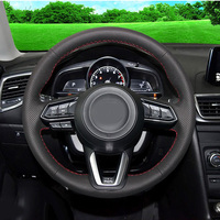 Car Styling New Anti Slip Black PU Leather Steering Wheel Stitch on Wrap Cover For Mazda 3 Axela 2017