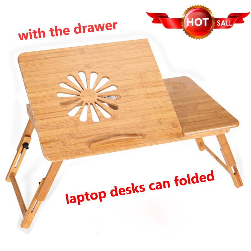 Foldable Laptop stand desk table computer for bed wooden notebook PC support breakfast tray table for study with drawer unit