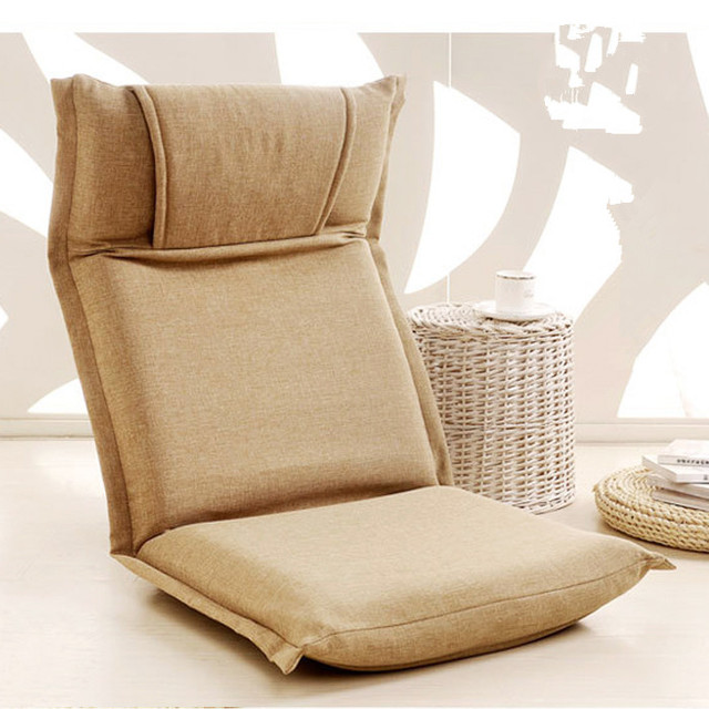 Modern Floor Recliner Chair Beige Color Portable Floor Foldable Recliner  Chair Upholstered Modern Fashion Leisure Recliner