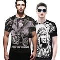 A7 Verano de la Roca Del Cráneo de Manga Corta Lobo Dragón de Impresión 3d Camiseta de Los Hombres Camisetas Camiseta de Algodón Camisetas camisas Negras Superior calidad