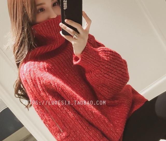 Version Pull Chandail Lâche Vêtements De Femmes Moyen Haute Paresseux Nouvelle longueur D'hiver Épaissie 2018 col Tricoté Gules Jack Pour Coréenne RZwqnxXA