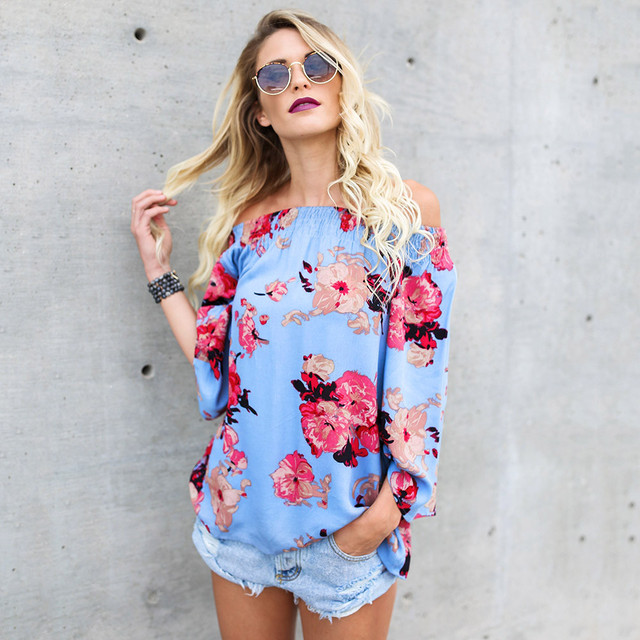 0e7f2be6867a1 2018 New Spring Summer Women Blouse Ladies Fashion Trend Print Floral Off  Shoulder Slash Neck Strapless Long Sleeve Top Blosue