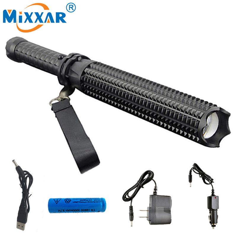 ZK35 Self-defense Led CREE XM-L2 Toothed Mace 4500LM LED Spiked Mace Bat Long Flashlight Torch Lamp 18650 Rechargeable  Battery zk35 cree xm l2 4500lm 5 mode flashlight torch led flashlight self defense lamp rechargeable with 18650 battery for outdoor