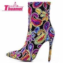Женские Модные ботильоны на платформе и высоком каблуке 12 см в байкерском стиле; женская обувь; Botas Bling# Y0314684Q