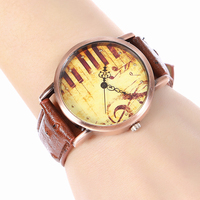 GUOTE New Fashion Watch Women Vintage Leather Strap Piano Music Pattern Casual Quartz Wristwatch Ladies Creative