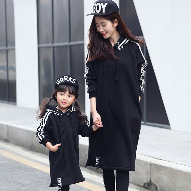 Family Matching Hoodies Dress Mother Daughter Autumn Dresses Mom and Daughter Dress Clothes Family Set Parent-Child Clothing LK3