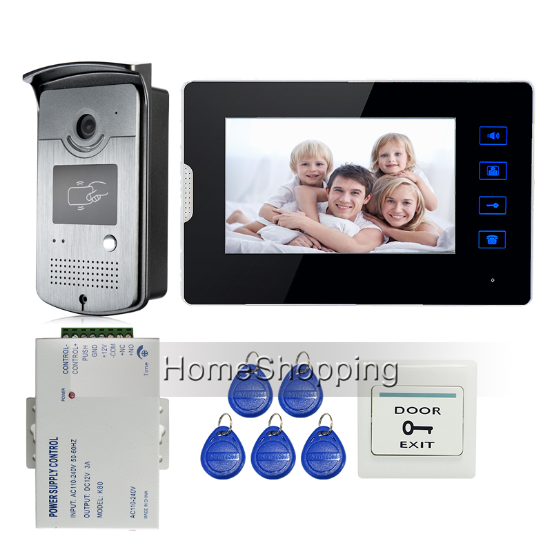 Apartment New 7 Color LCD Touch Screen Video Door Phone Intercom + 700TVL HD RFID Access Door Camera + 1 Monitor Free Shipping digital electric best rfid hotel electronic door lock for flat apartment