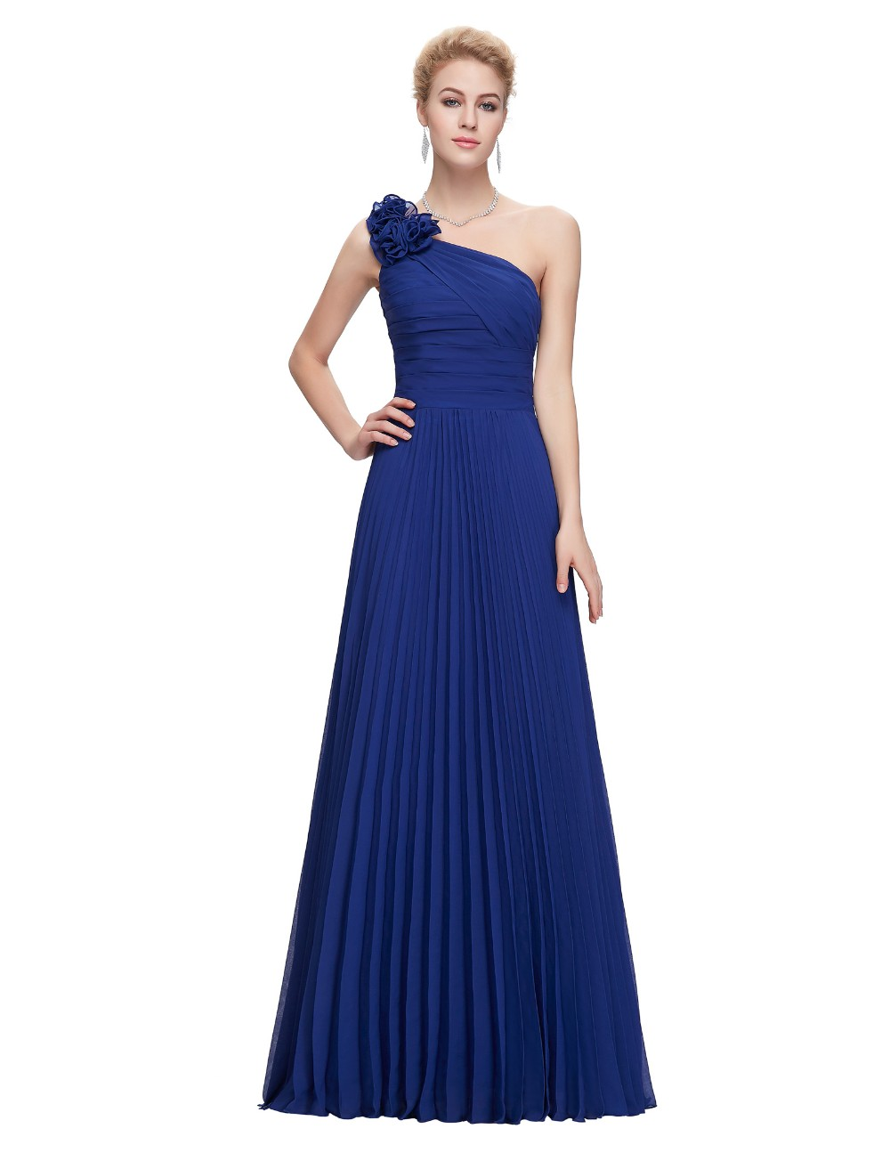 Grace Karin Chiffon Long Evening Dress One Shoulder Pleated Red Green Purple Royal Blue Formal Evening Dress Party Gowns 2018 5