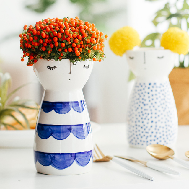 Aliexpress Buy Modern Cute Girl Design Vase Ceramic Flower