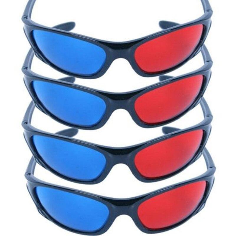 5x Black Frame Red Blue font b 3D b font font b Glasses b font For
