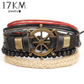 17KM 2016 Boho Women Fashion Leather Bracelets&Bangles 4 PCS Wristband Anchors Jewelry Vintage Charm Pulseira Masculina