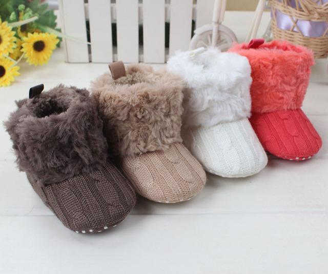 Botas Para la Nieve bebé Bebé Niños Niñas Zapatos Calientes de Los Niños del Invierno Forro de Felpa Suave Tejer Calzado Regalo Envío de La Gota Libre Al Por Mayor