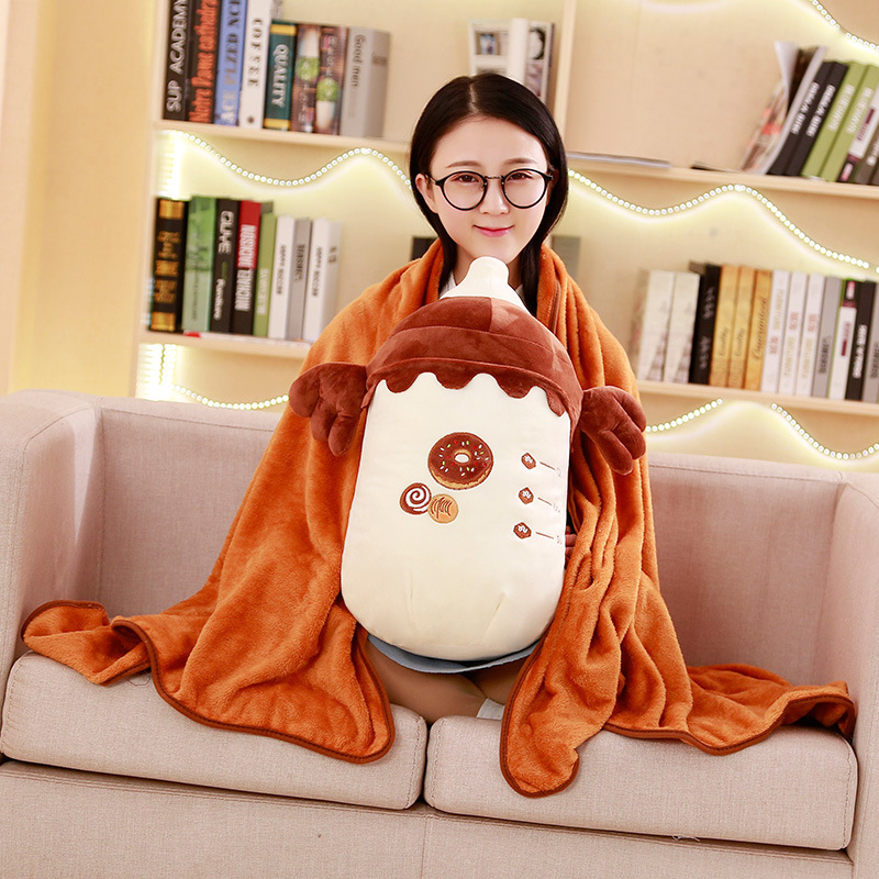 1PC 30x45Cm plush Lovely Feeding bottle pillow Blanket (160x100Cm) Conditioner blanket Cute Baby Qulit birthday Christmas gift