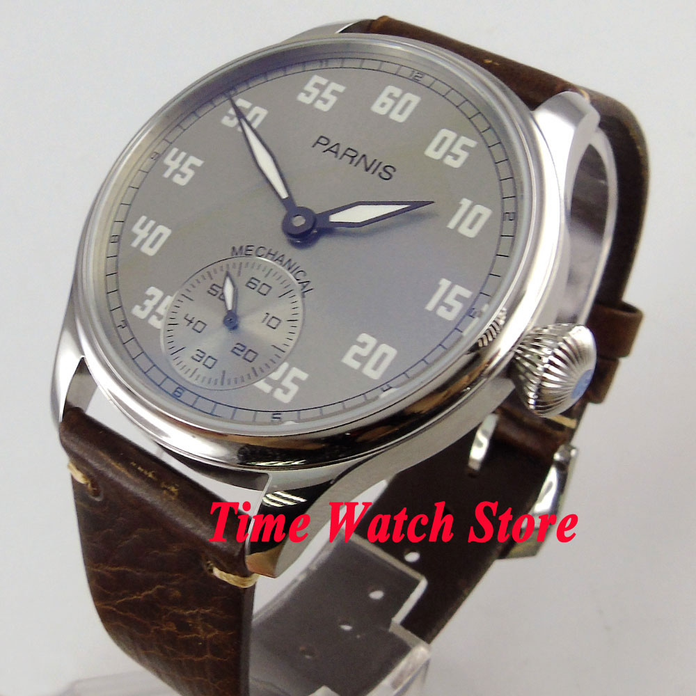 Vintage 44mm Parnis grey dial luminous 17 jewels mechanical 6498 hand winding movement mens watch 804