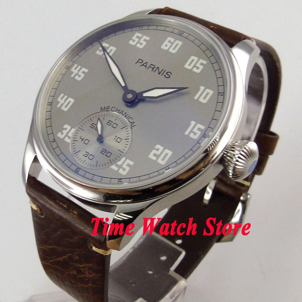 Vintage 44mm Parnis grey dial luminous 17 jewels mechanical 6498 hand winding movement mens watch 804 цена и фото