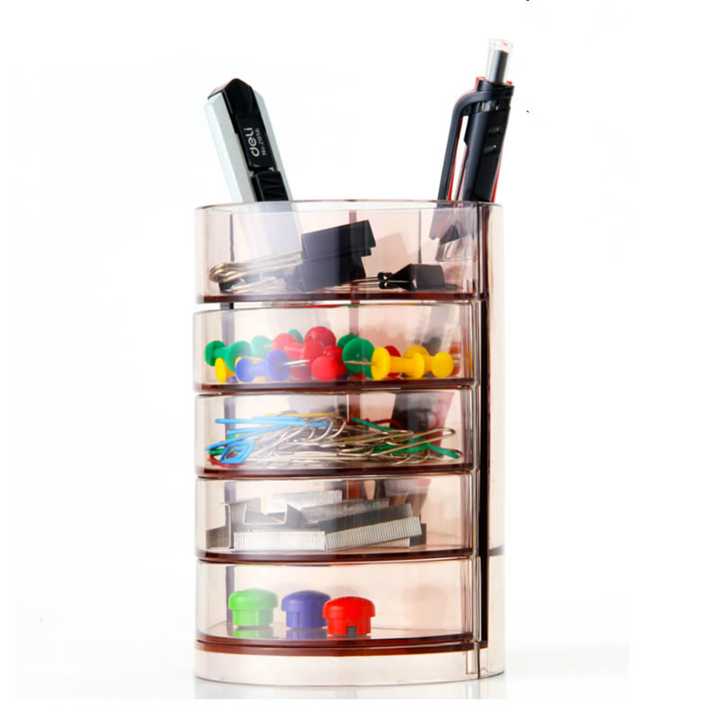 Deli 906 multifunctional transparent pen holder 4 layers creative pen stand modern storage box office stationery supplies free shipping wood 6051 wool multifunctional pen office pen holder notes box supplies