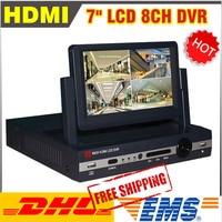 2014 New 7 Inch LCD DVR 8 Channel HDMI H 264 Cctv 8ch Full D1 DVR
