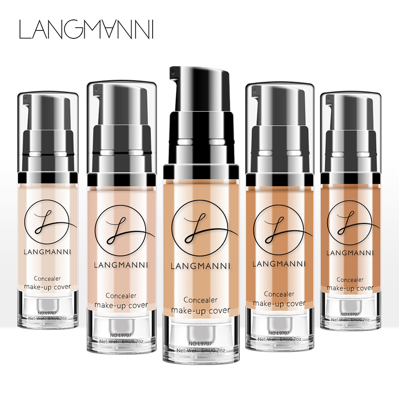 langmanni 6 Colors Full Cover Liquid Concealer 6ml Eye Dark Circles Cream Makeup Face Corrector Waterproof Make Up Base Cosmetic