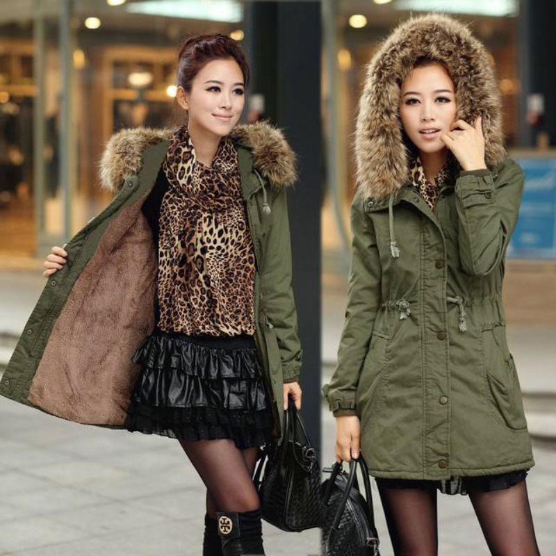 Winter Clothes Women Long Green Jacket Hooded Thick Girls Coat Fur Collar Padded Solid Down   Parka   Female Casual Lace Up Overcoat